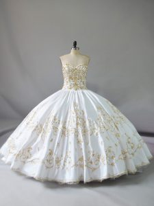 Floor Length Lace Up Sweet 16 Quinceanera Dress White for Sweet 16 and Quinceanera with Embroidery