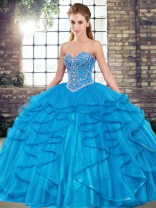 Suitable Beading and Ruffles Sweet 16 Dresses Blue Lace Up Sleeveless Floor Length