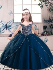 Navy Blue Tulle Lace Up Sleeveless Floor Length Little Girls Pageant Dress Wholesale Beading