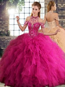 Discount Tulle Sleeveless Floor Length Sweet 16 Quinceanera Dress and Beading and Ruffles