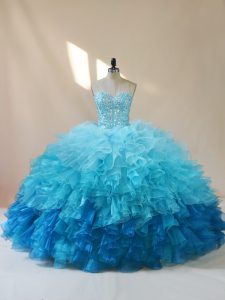 Latest Organza Sweetheart Sleeveless Lace Up Beading and Ruffles Ball Gown Prom Dress in Multi-color