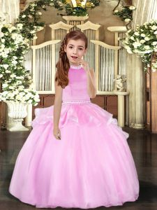 Inexpensive Lilac Halter Top Neckline Beading Little Girls Pageant Gowns Sleeveless Backless