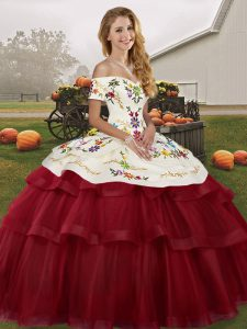 High Quality Tulle Off The Shoulder Sleeveless Brush Train Lace Up Embroidery and Ruffled Layers Quinceanera Gown in Wine Red