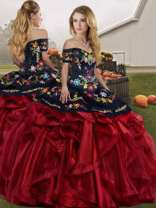 Sexy Red And Black Lace Up Sweet 16 Dresses Embroidery and Ruffles Sleeveless Floor Length