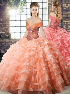 Peach Quinceanera Gowns Military Ball and Sweet 16 and Quinceanera with Beading and Ruffled Layers Off The Shoulder Sleeveless Brush Train Lace Up