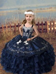 Sleeveless Floor Length Embroidery and Ruffled Layers Lace Up Kids Formal Wear with Navy Blue
