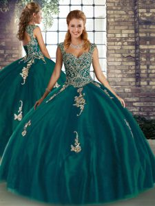 Superior Floor Length Peacock Green Quinceanera Dresses Tulle Sleeveless Beading and Appliques