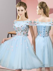 Superior Light Blue Off The Shoulder Neckline Appliques Damas Dress Short Sleeves Lace Up