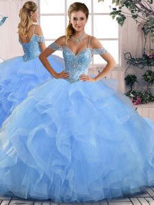 Blue Ball Gowns Beading and Ruffles Sweet 16 Dresses Lace Up Tulle Sleeveless Floor Length