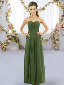 Dark Green Sweetheart Neckline Ruching Vestidos de Damas Sleeveless Lace Up