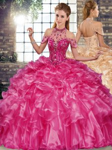 Fuchsia Halter Top Lace Up Beading and Ruffles Ball Gown Prom Dress Sleeveless