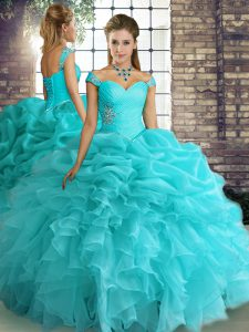 Modest Aqua Blue Sleeveless Organza Lace Up 15th Birthday Dress for Military Ball and Sweet 16 and Quinceanera