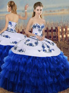 Chic Royal Blue Ball Gowns Embroidery and Ruffled Layers Quince Ball Gowns Lace Up Organza Sleeveless Floor Length