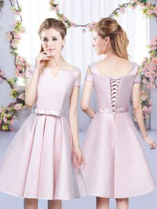 Custom Design Baby Pink A-line Bowknot Quinceanera Dama Dress Lace Up Satin Sleeveless Mini Length