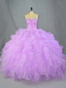 On Sale Lavender Lace Up Sweetheart Beading and Ruffles Vestidos de Quinceanera Organza Sleeveless