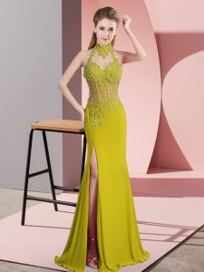 Green Backless Halter Top Lace and Appliques Prom Dress Chiffon Sleeveless