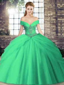 Shining Turquoise Ball Gowns Beading and Pick Ups Quince Ball Gowns Lace Up Tulle Sleeveless