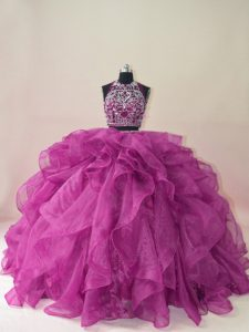 Sleeveless Beading and Ruffles Backless Quinceanera Gown with Fuchsia Brush Train