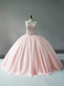 Fantastic Pink Halter Top Beading Quinceanera Dress Tulle Sleeveless
