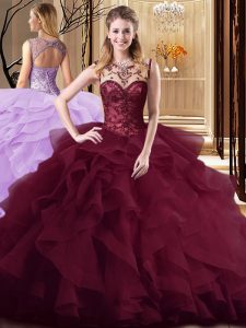 Popular Burgundy Tulle Lace Up Quinceanera Gowns Sleeveless Brush Train Beading and Ruffles