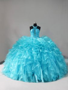 On Sale Aqua Blue Halter Top Neckline Beading and Ruffles Ball Gown Prom Dress Sleeveless Lace Up