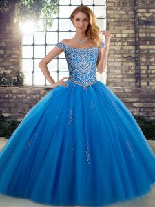 Cute Blue Ball Gowns Off The Shoulder Sleeveless Tulle Floor Length Lace Up Beading Quinceanera Dresses