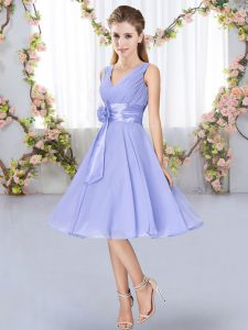 Eye-catching Sleeveless Lace Up Knee Length Hand Made Flower Quinceanera Court Dresses