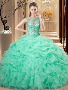 Scoop Sleeveless Organza 15th Birthday Dress Beading and Ruffles Lace Up