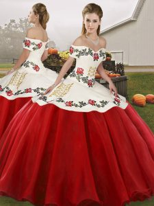 White And Red Organza Lace Up Sweet 16 Dress Sleeveless Floor Length Embroidery