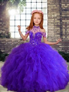 Low Price Floor Length Purple Little Girls Pageant Gowns High-neck Sleeveless Lace Up