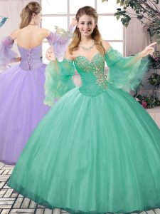Sweetheart Sleeveless Sweet 16 Dresses Floor Length Beading Apple Green Tulle