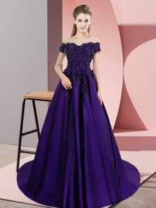 Off The Shoulder Sleeveless Ball Gown Prom Dress Court Train Lace Purple Satin