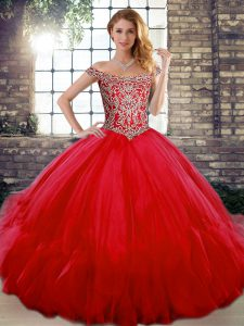 Glittering Red Lace Up 15th Birthday Dress Beading and Ruffles Sleeveless Floor Length