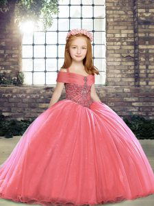 Straps Sleeveless Tulle Little Girl Pageant Dress Beading Brush Train Lace Up