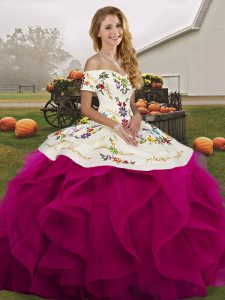Super Fuchsia Quinceanera Dress Military Ball and Sweet 16 and Quinceanera with Embroidery and Ruffles Off The Shoulder Sleeveless Lace Up