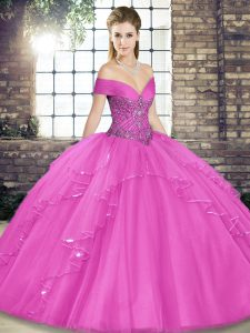 Lilac Quinceanera Dresses Military Ball and Sweet 16 and Quinceanera with Beading and Ruffles Off The Shoulder Sleeveless Lace Up