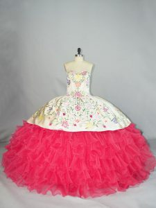 Nice Sweetheart Sleeveless Lace Up 15 Quinceanera Dress White And Red Organza