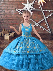 Baby Blue Lace Up Child Pageant Dress Embroidery and Ruffled Layers Sleeveless Floor Length