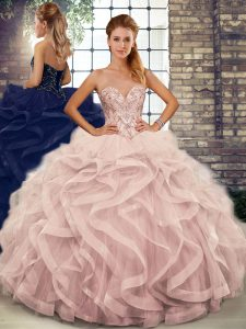 New Style Tulle Sleeveless Floor Length Vestidos de Quinceanera and Beading and Ruffles