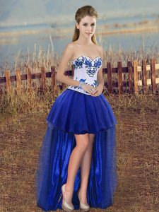 Royal Blue Sleeveless Tulle Lace Up Prom Evening Gown for Prom and Party