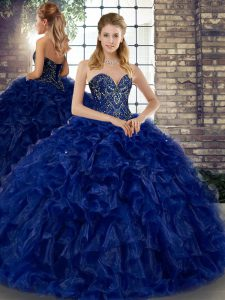 Royal Blue Organza Lace Up Sweetheart Sleeveless Floor Length 15 Quinceanera Dress Beading and Ruffles