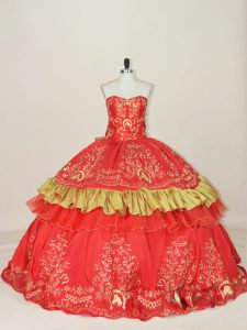 High Quality Sleeveless Satin Floor Length Lace Up Quinceanera Dresses in Red with Embroidery and Bowknot