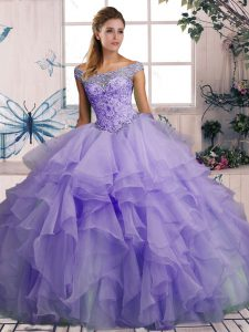 Extravagant Ball Gowns Ball Gown Prom Dress Lavender Off The Shoulder Organza Sleeveless Floor Length Lace Up