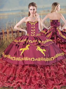 Burgundy Lace Up Sweetheart Embroidery and Ruffled Layers Sweet 16 Quinceanera Dress Satin and Organza Sleeveless Brush Train