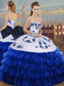 Custom Designed Ball Gowns Quince Ball Gowns Royal Blue Sweetheart Organza Sleeveless Floor Length Lace Up