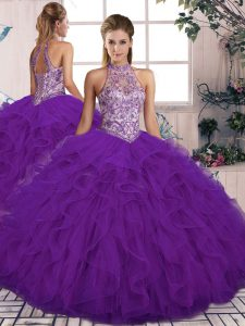 Ball Gowns Quinceanera Dresses Purple Halter Top Tulle Sleeveless Floor Length Lace Up