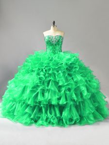 Sophisticated Green Sleeveless Beading and Ruffles Quinceanera Dress