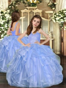 Blue Straps Neckline Ruffles Pageant Gowns For Girls Sleeveless Lace Up