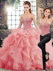 Sleeveless Brush Train Beading and Ruffles Lace Up Quince Ball Gowns