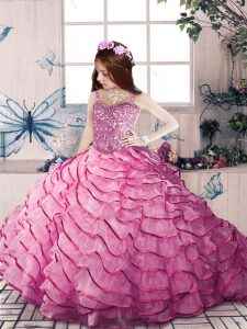 Simple Ball Gowns Sleeveless Pink Kids Pageant Dress Court Train Lace Up